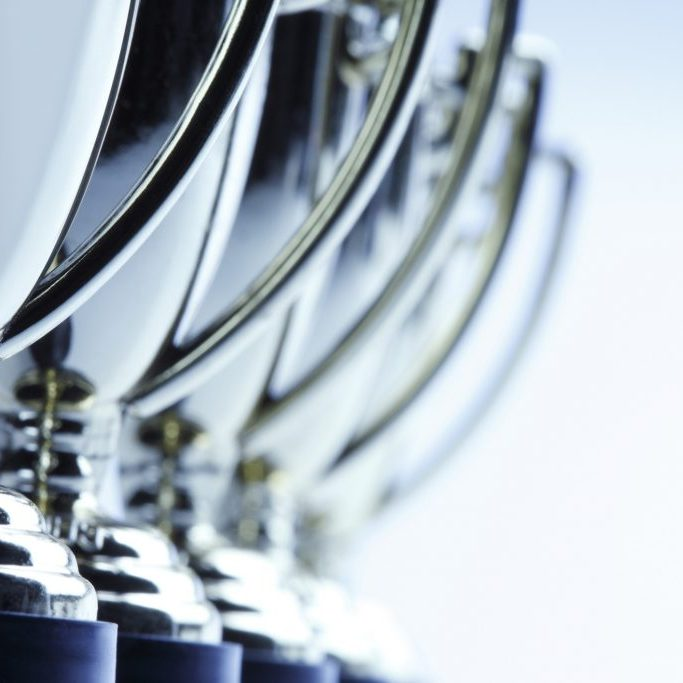 lineup of trophies