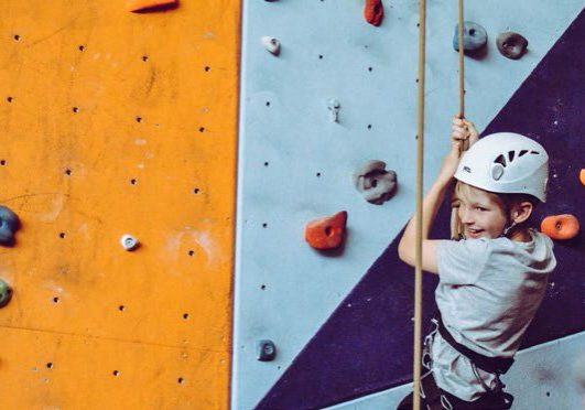 Child rockclimbing